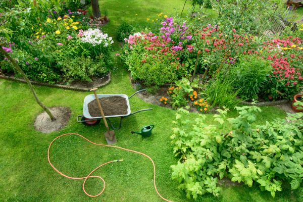 Photo of tidy garden with wheelbarrow, hose, shovel and watering can